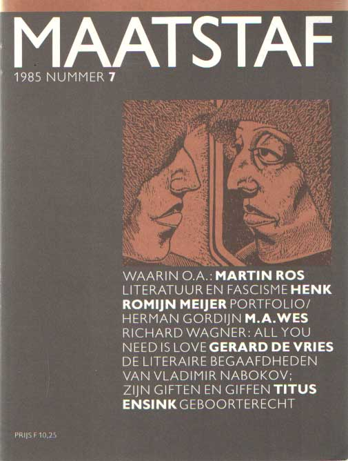 BOER, PETER DE E.A. (REACTIE) - Maatstaf 1985, no. 7.