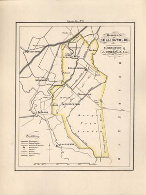 - Kaart van Bellingwolde uit de Gemeente-atlas van Groningen. De gemeentegrens is handgekleurd.