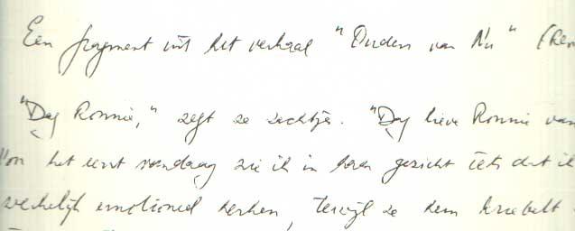 DONKERS, JAN - Een fragment uit het verhaal 'Ouden van nu'.