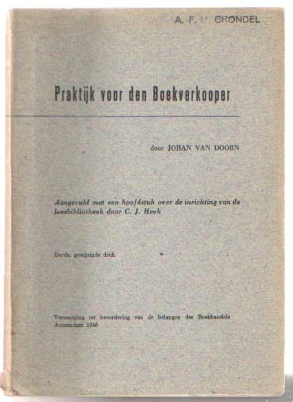 DOORN, JOHAN VAN - Praktijk voor den boekverkoper.