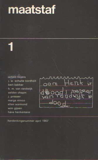 BAKKER, BERT & WIM GIJSSEN (REDACTIE) - Maatstaf. Maandblad voor letteren. Vijftiende jaargang. No.1 april 1967.
