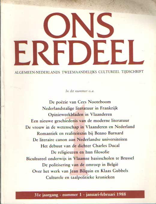 DELEU, JOZEF (HOOFDREDACTEUR) - Ons erfdeel. Algemeen Nederlands Tweemaandelijks Cultureel Tijdschrift. 31ste jaargang, de nr. 1.