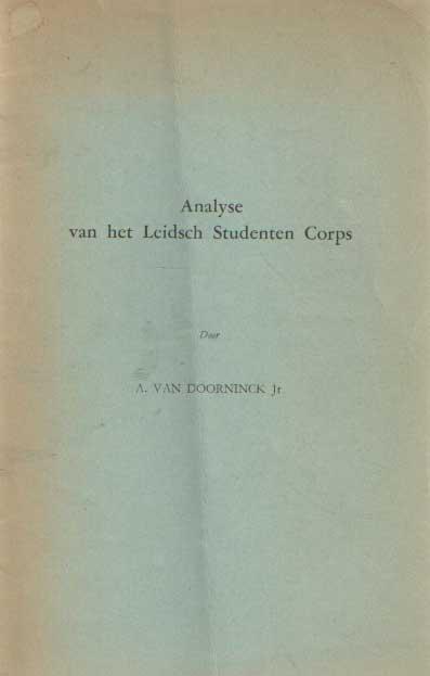 DOORNINCK JR., A. VAN - Analyse van he Leidsch Studenten Corps.