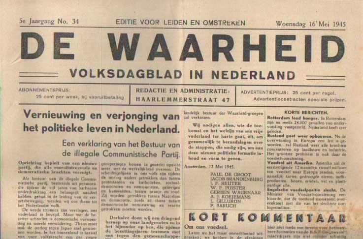 - De waarheid, volksdagblad voor Nederland. 5e jaargang, no. 34. Woensdag 16 mei 1945.