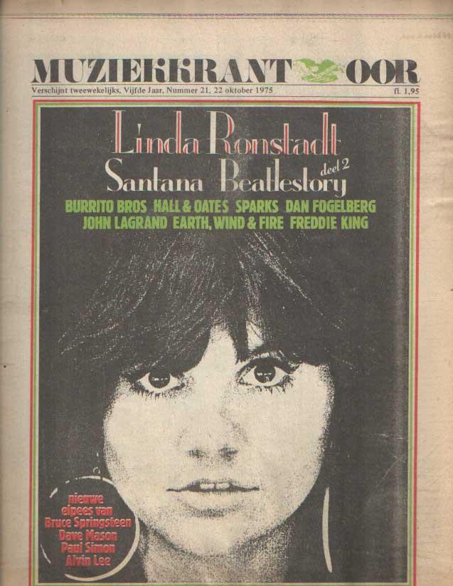 DIVERSE AUTEURS - Muziekkrant Oor. Vijfde jaar, nummer 21 22 oktober 1975.