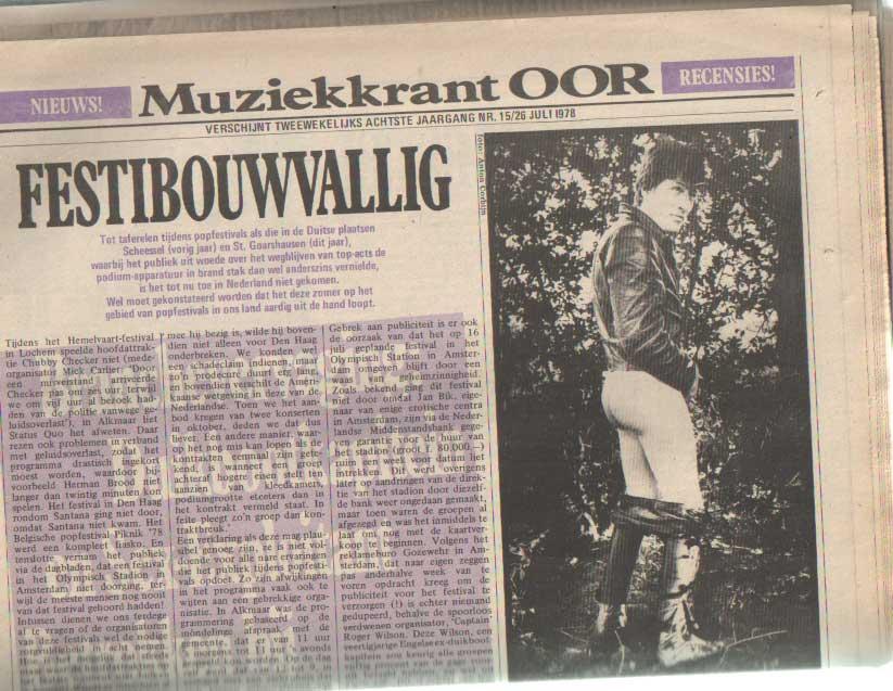 DIVERSE AUTEURS - Muziekkrant Oor. Achtste jaargang, nummer 15, 26 juli 1978.