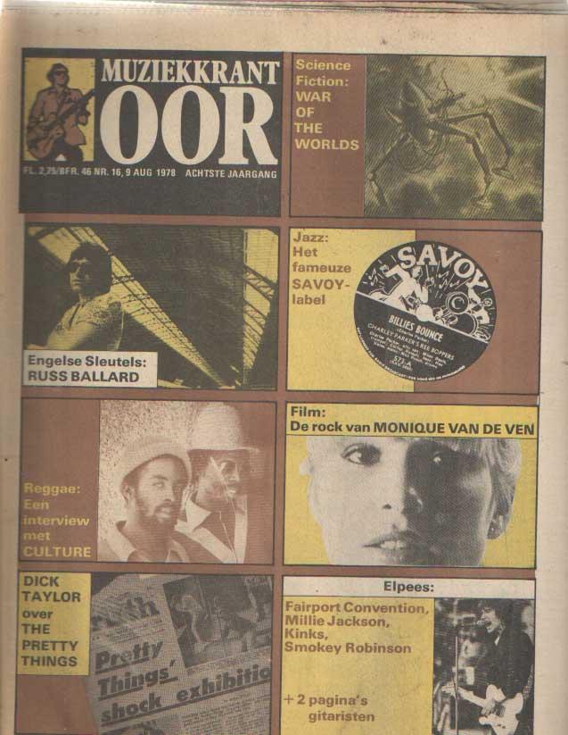 DIVERSE AUTEURS - Muziekkrant Oor. Zevende jaargang, nummer 16, 9 augustus 1978.